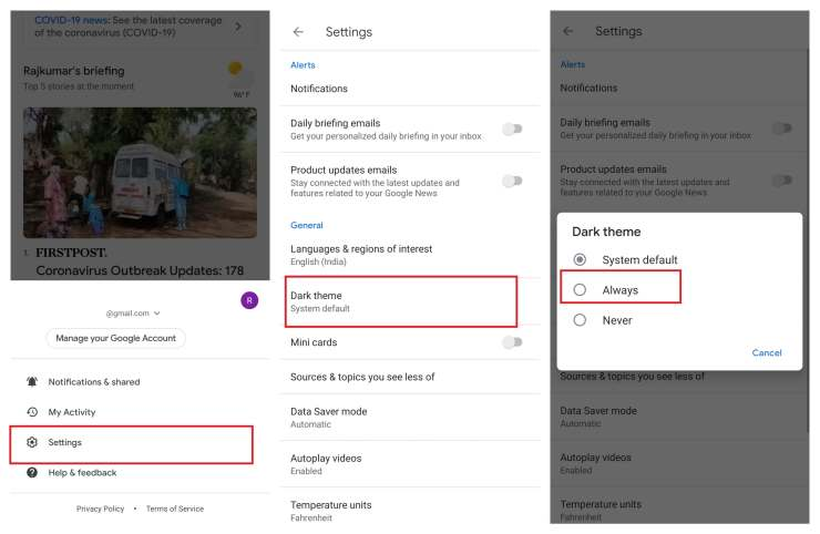Google News Dark Mode on Android