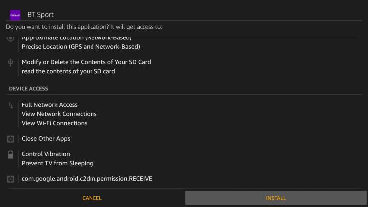 Install BT Sport on Firestick