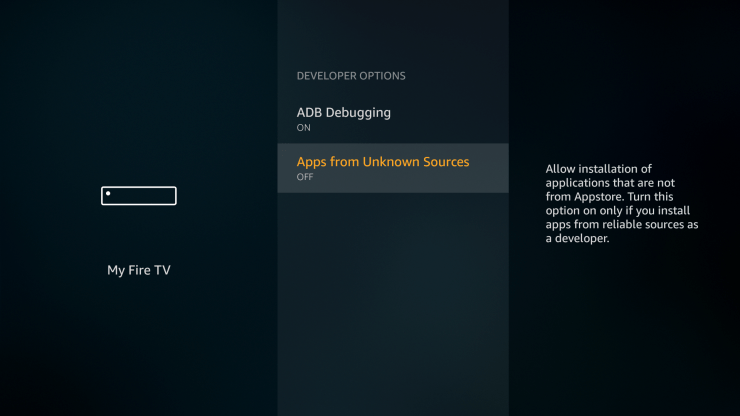 Enable unknown sources on Firestick